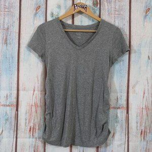 💎 Isabel Maternity Ruched Tee Heather Gray Size S